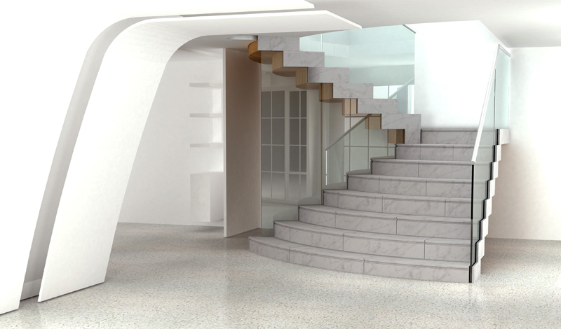 """Monolithic sculptural staircase"""