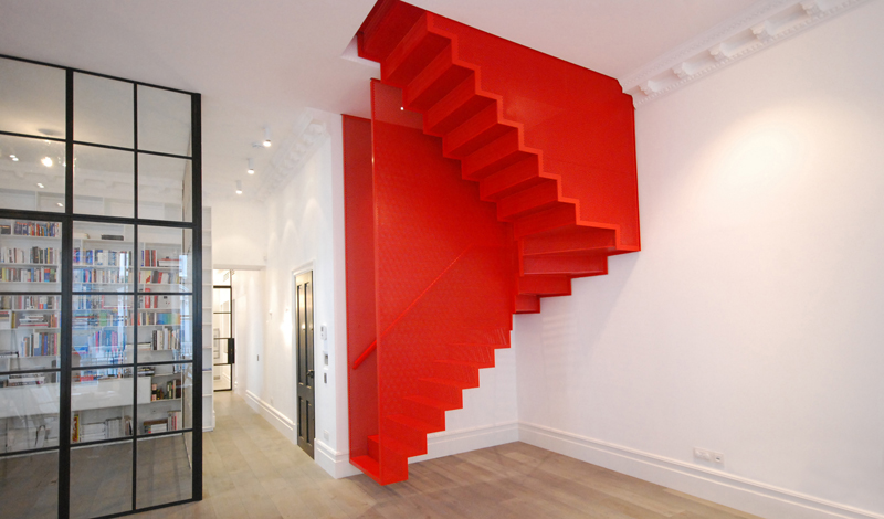Hanging Red Stairs_Michaelis Boyd Associates_Elvaston Place, Kensington