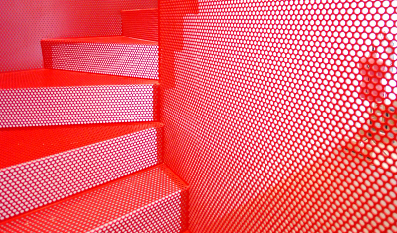 Hanging Red Stairs Michaelis Boyd Associates Elvaston