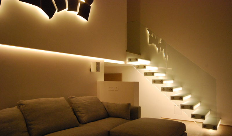Cantilevered Glass Box Treads Concealed Light_Private Penthouse, Soho London