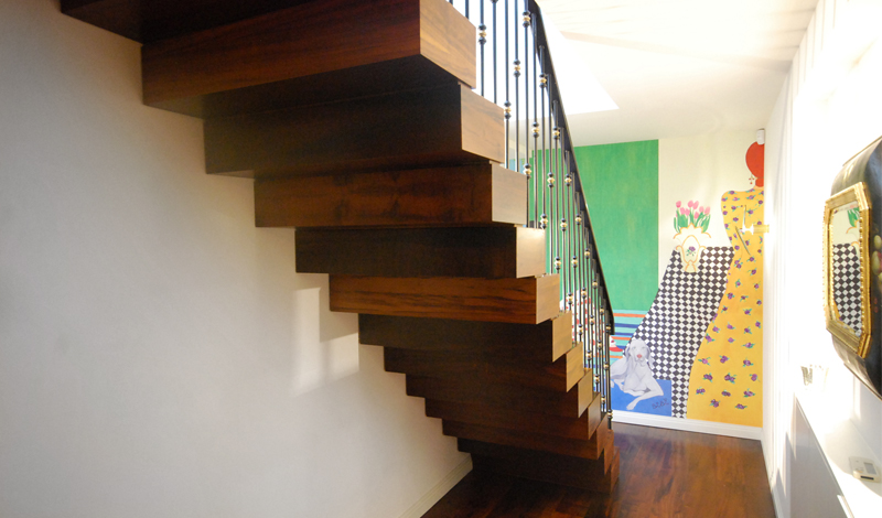 Cantilever Stairs Stacked Wood Block Effect_Jonathan Clark Architects_Seymour Walk